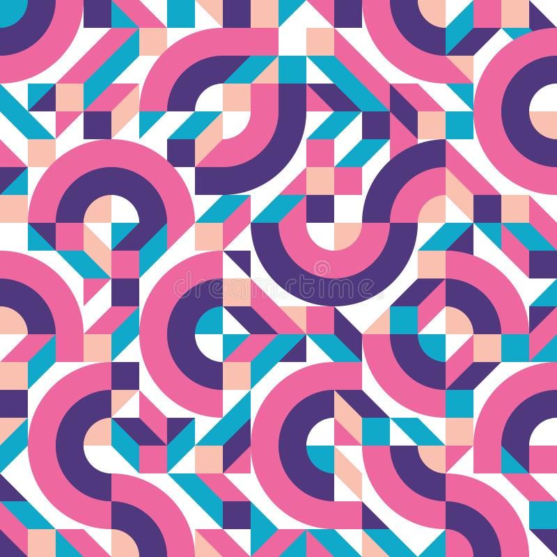 抽象几何在孟菲斯意大利设计小组80s时尚减速火箭的样式的背景传染媒介无缝的样式  皇族释放例证