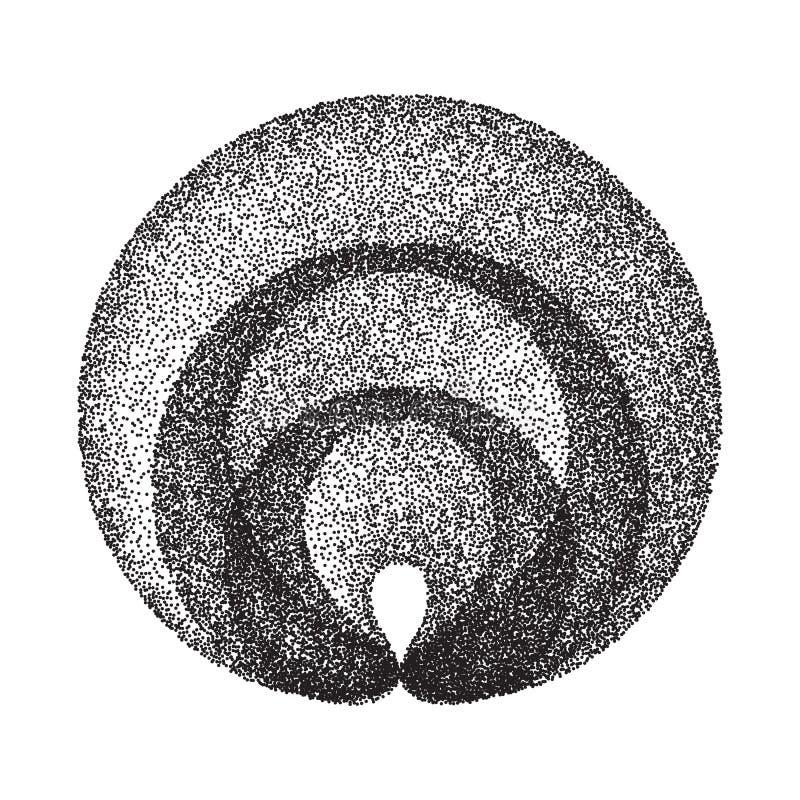 抽象几何形状传染媒介 黑色被加点围绕圈子 影片五谷,噪声,难看的东西纹理 背景半音例证徽标空间文本向量 皇族释放例证