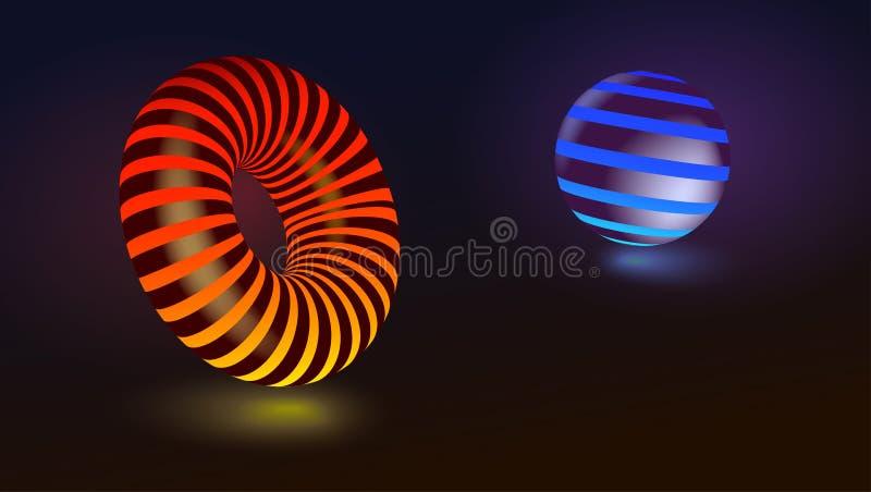抽象几何形状 圈子和球形 在黑背景隔绝的色的焕发形式 3d例证向量 向量例证