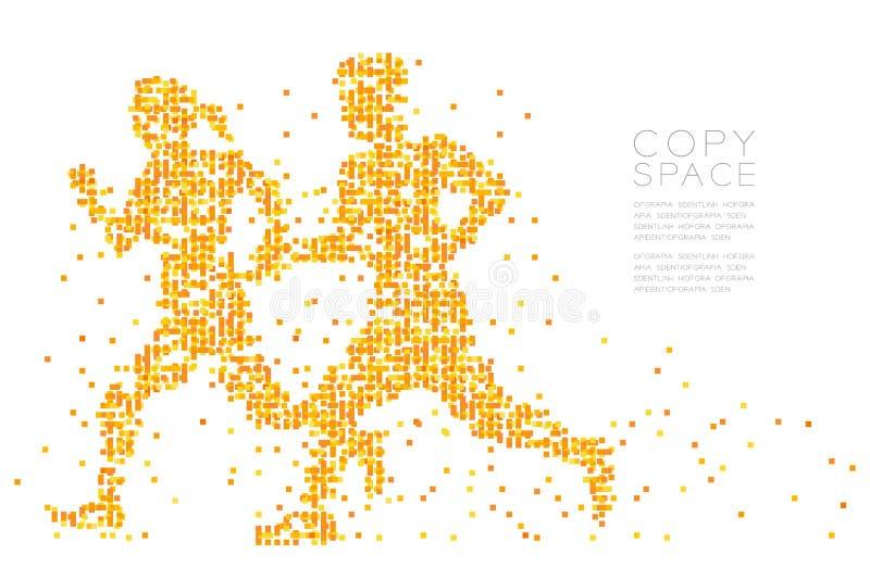 抽象几何方形框样式男人和妇女结合赛跑者一起塑造,炫耀构思设计 皇族释放例证