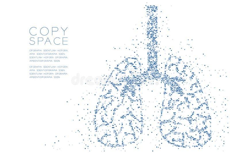 抽象几何方形框样式肺形状,医学器官构思设计蓝色彩色插图 库存例证