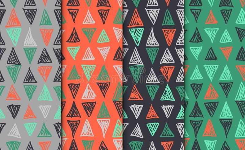 抽象几何无缝的手拉的样式集合 现代无权纹理 五颜六色的几何乱画背景 向量例证