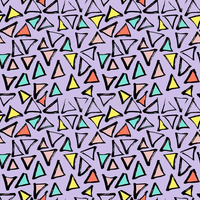 抽象几何无缝的手拉的样式 现代无权纹理 五颜六色的几何乱画背景 向量例证