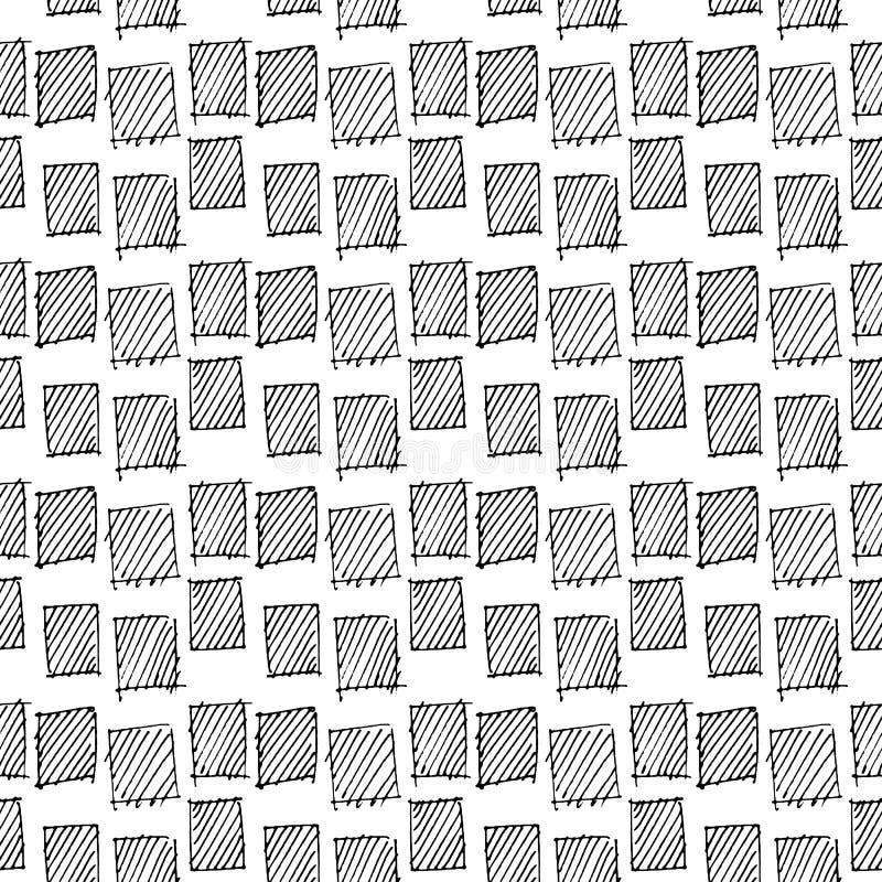 抽象几何无缝的手拉的样式 现代无权纹理 单色几何乱画背景 皇族释放例证