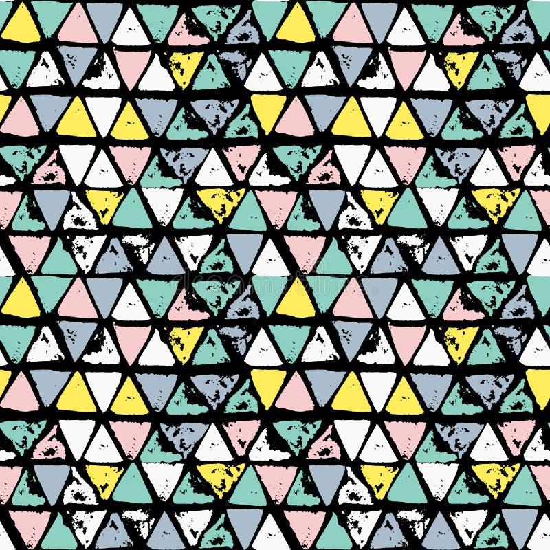 抽象几何无缝的手拉的样式 grunge现代纹理 五颜六色的刷子被绘的背景 向量例证
