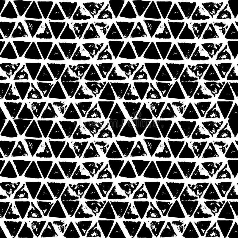 抽象几何无缝的手拉的样式 grunge现代纹理 单色刷子被绘的背景 向量例证