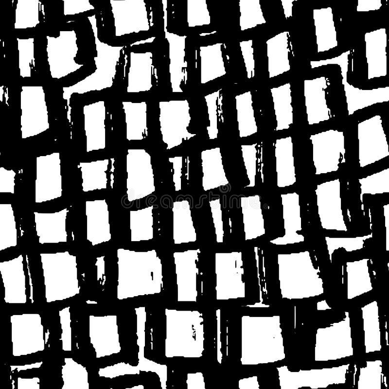 抽象几何无缝的手拉的样式 grunge现代纹理 单色刷子被绘的背景 皇族释放例证