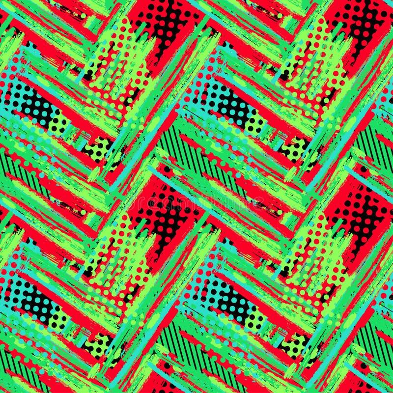 抽象几何无缝的概略的难看的东西样式,现代desig 免版税库存照片