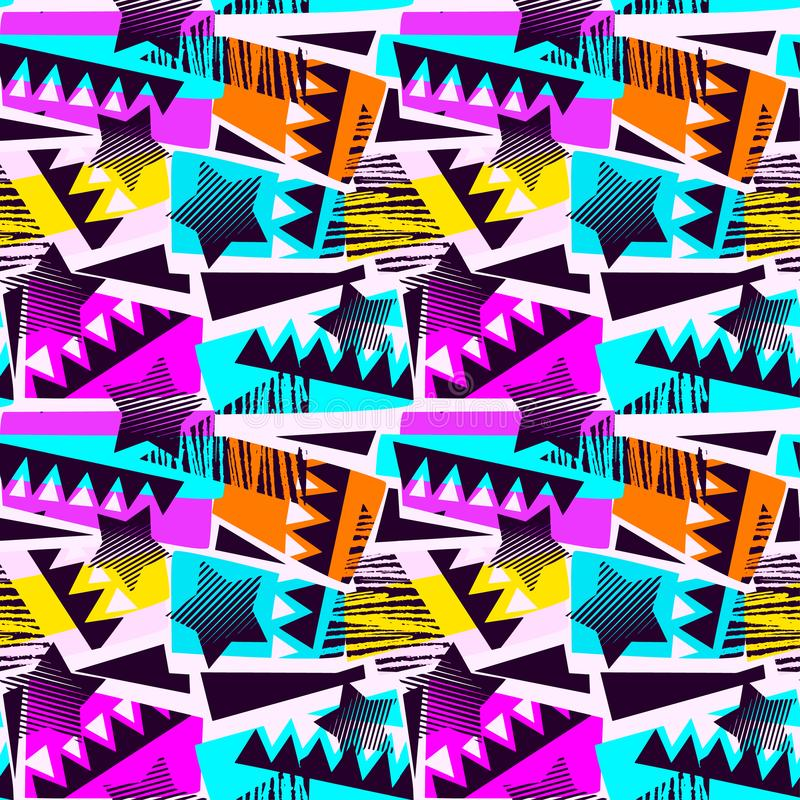 抽象几何无缝的概略的难看的东西样式,现代desig 免版税图库摄影
