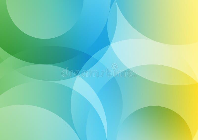 抽象几何曲线在蓝色,黄色和绿色背景中构造 库存例证