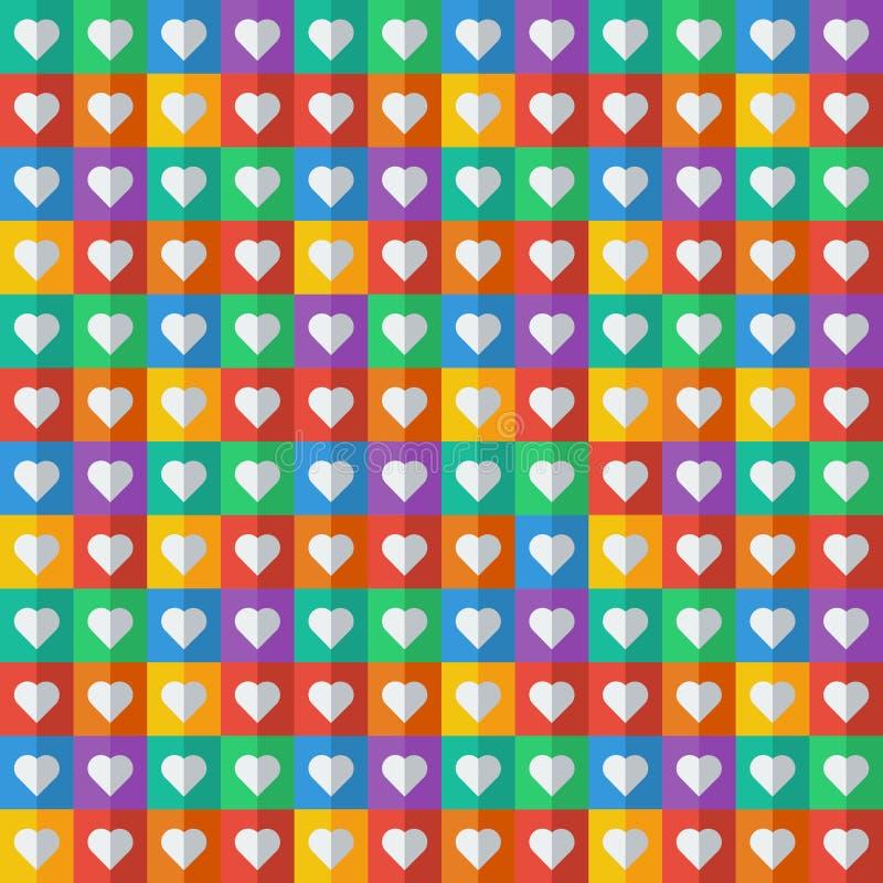 抽象几何样式,五颜六色的正方形 库存例证