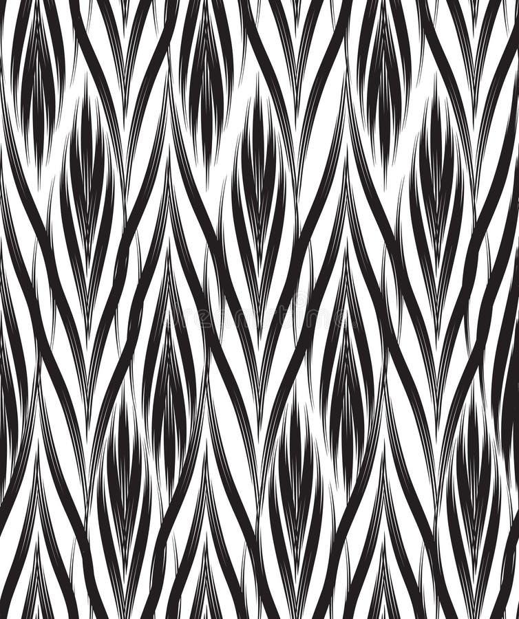 抽象几何模式 无缝的花卉黑白orna 皇族释放例证