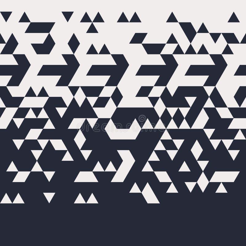 抽象几何水平Techno三角无缝的样式 向量例证