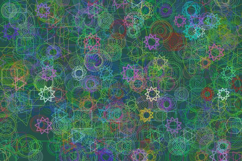 抽象几何混杂的样式,五颜六色&艺术性为图形设计、编目、纺织品或者纹理打印&背景 库存例证