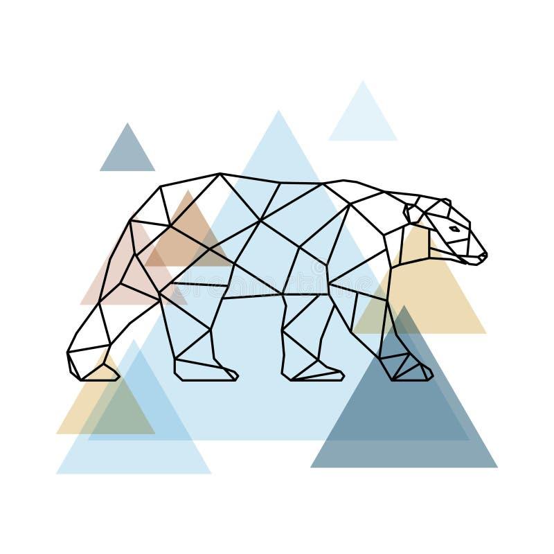 抽象几何熊 斯堪的纳维亚样式 向量例证