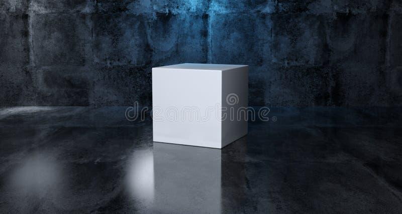 抽象几何简单的原始形状白色立方体在Realisti 库存例证
