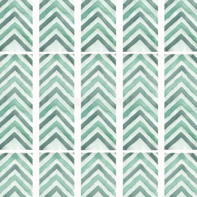 抽象几何箭头无缝的样式背景 线路纹理 之字形背景 设计您 在葡萄酒样式的绿色箭头 皇族释放例证