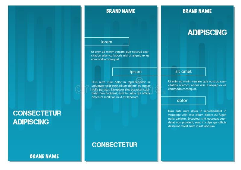 抽象几何线企业小册子盖子设计的样式背景 蓝色梯度传染媒介横幅海报模板 库存例证