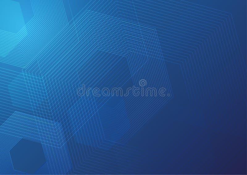 抽象几何线形数字技术背景,六角形元素模板设计 向量例证