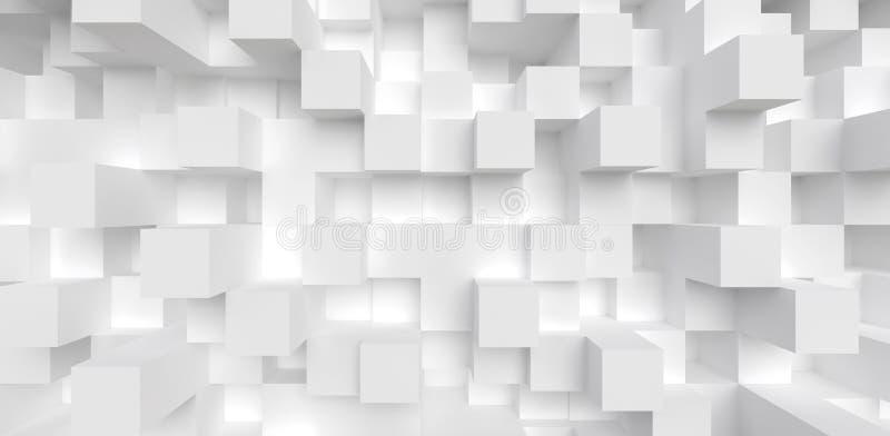 抽象几何背景白色立方体3d回报 库存例证