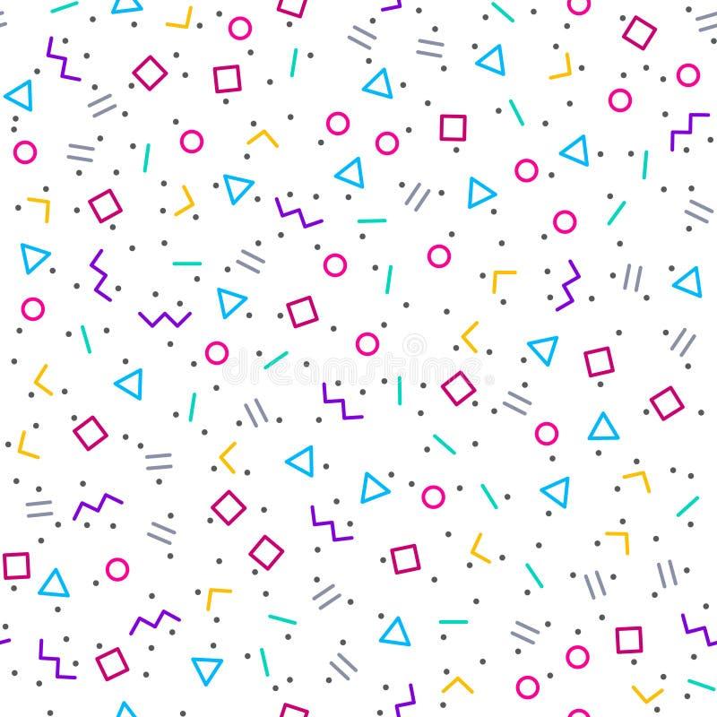 抽象几何背景,孟菲斯样式 库存例证