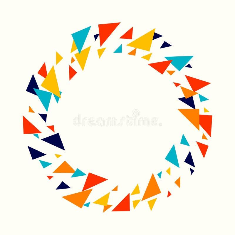 抽象几何背景-多色任意另外三角马赛克样式 向量例证