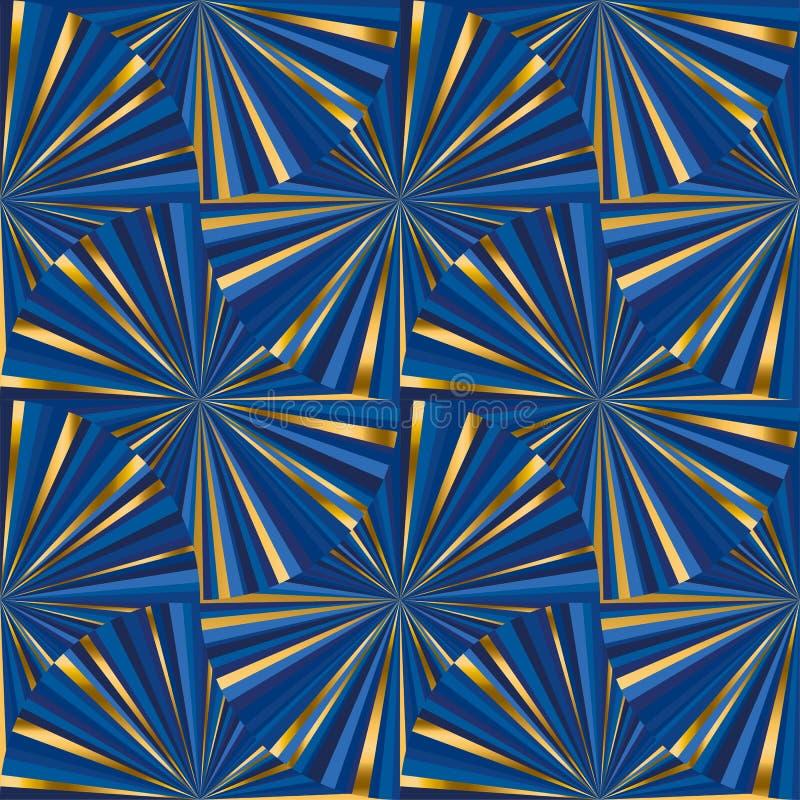 抽象几何蓝色和金子无缝的啪答声 皇族释放例证