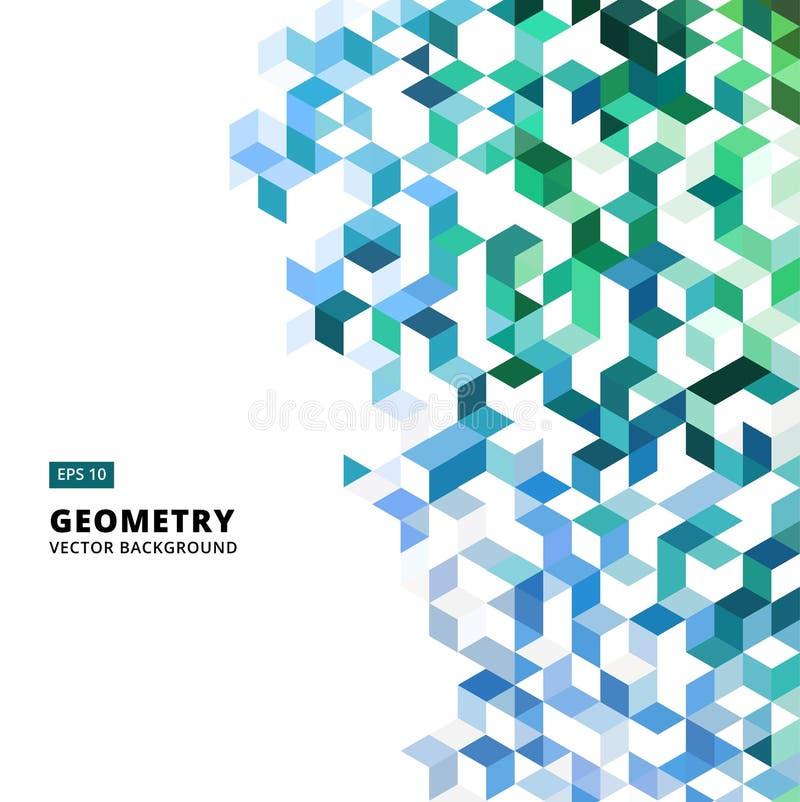 抽象几何蓝色和绿色砖,三角,立方体, 3d Vec 皇族释放例证