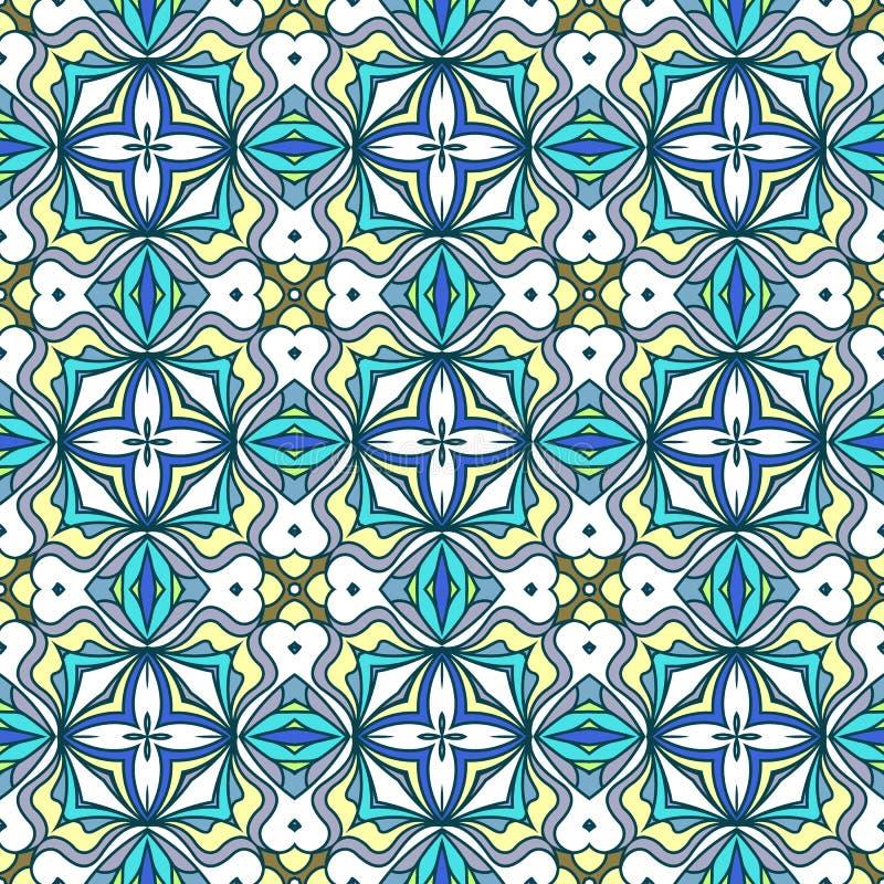 抽象几何装饰品,在充满活力的颜色的明亮的蓝色无缝的样式 皇族释放例证