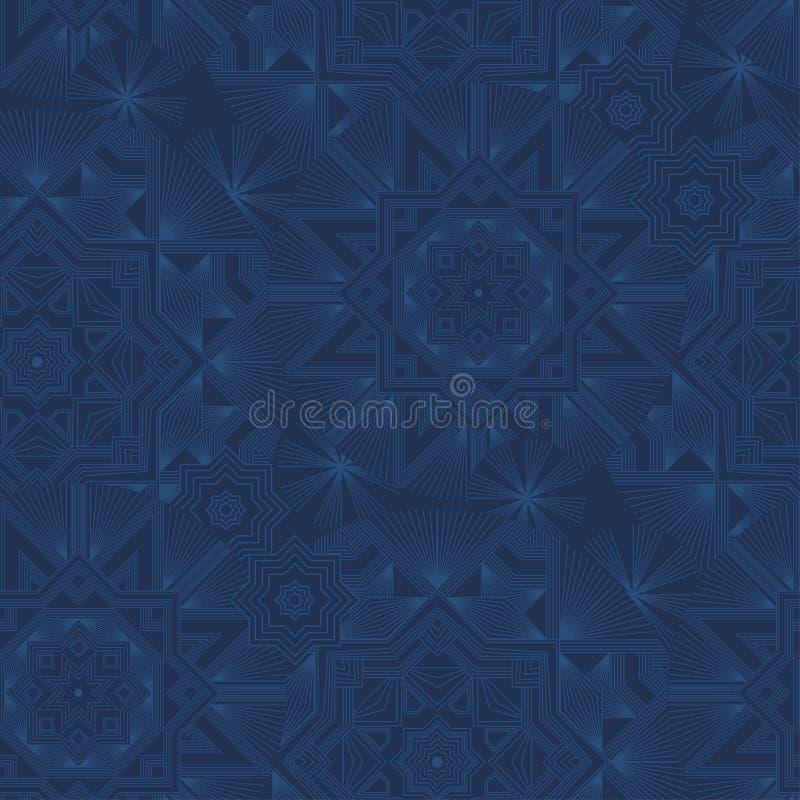 抽象几何雪花无缝的蓝色背景 向量例证