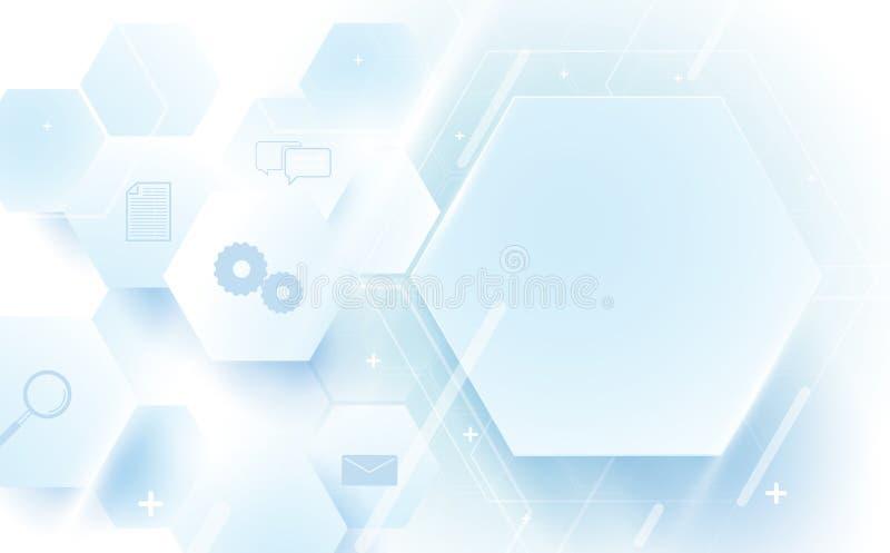 抽象几何,线,六角技术数字式高科技 皇族释放例证