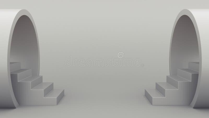 抽象几何 从管子的楼梯 ??minimalistic?? 3d?? 皇族释放例证