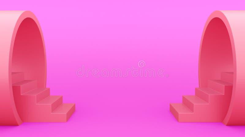 抽象几何 从管子紫色的楼梯 minimalistic绿色背景 3d?? 皇族释放例证
