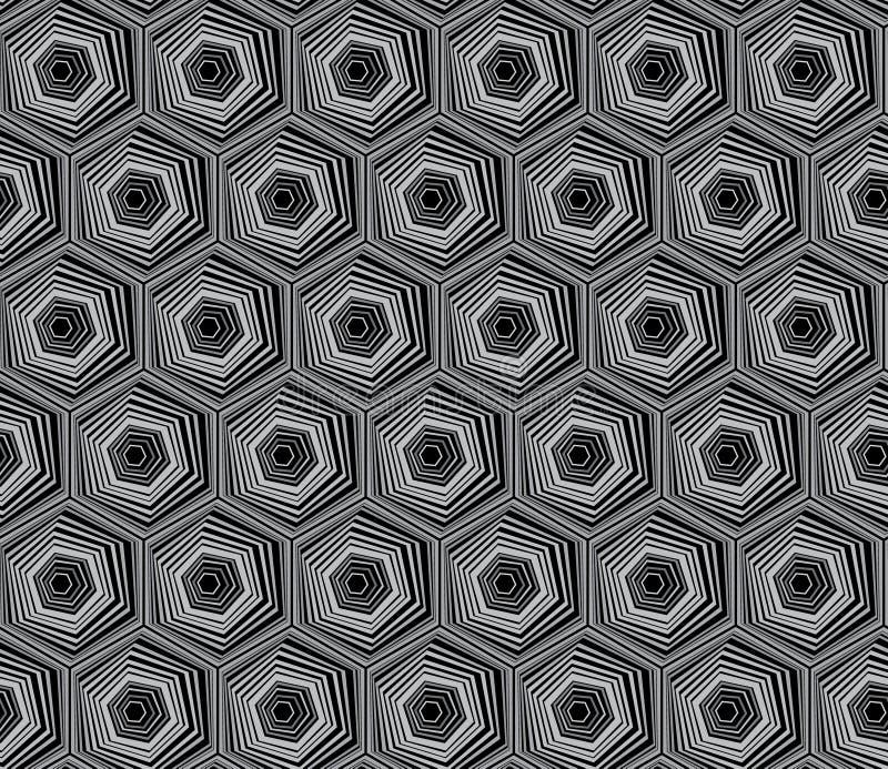 抽象几何黑白行家时尚枕头六角形样式 库存例证
