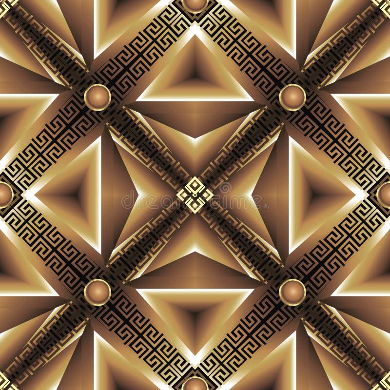抽象几何3d三角无缝的样式 现代装饰希腊背景 表面重复马赛克背景 希腊钥匙 向量例证