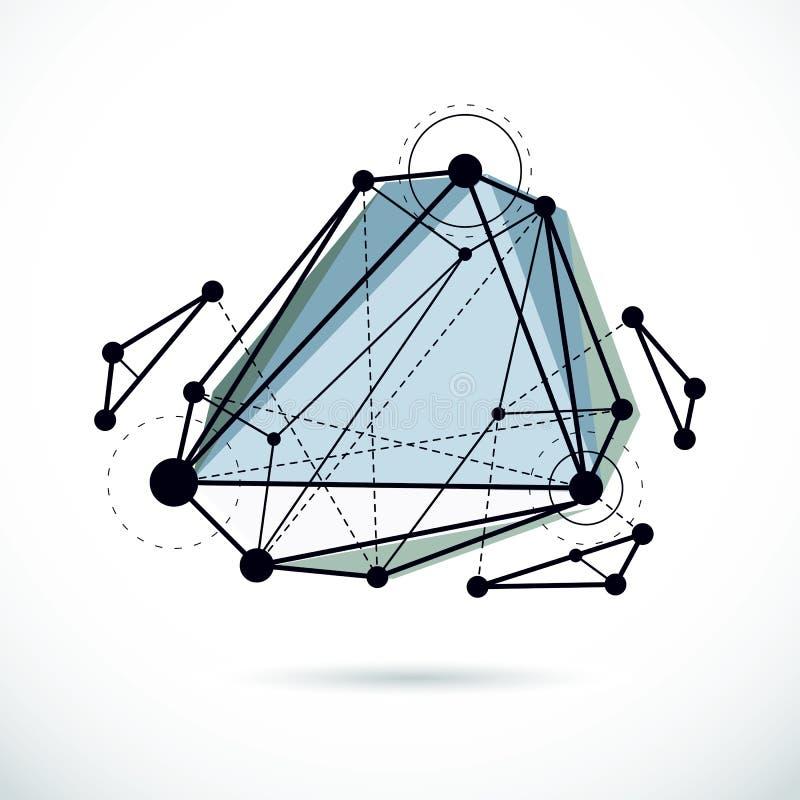 抽象几何3D在对象,现代数字技术上雕琢平面 皇族释放例证