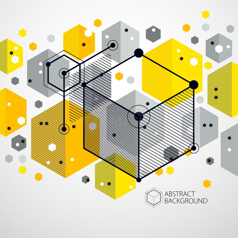 抽象几何3D立方体样式和黄色backgrou传染媒介  向量例证