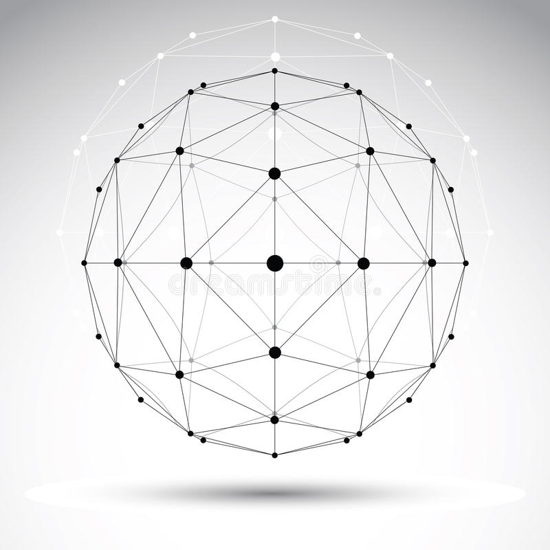 抽象几何3D wireframe对象,现代数字式technolog 皇族释放例证