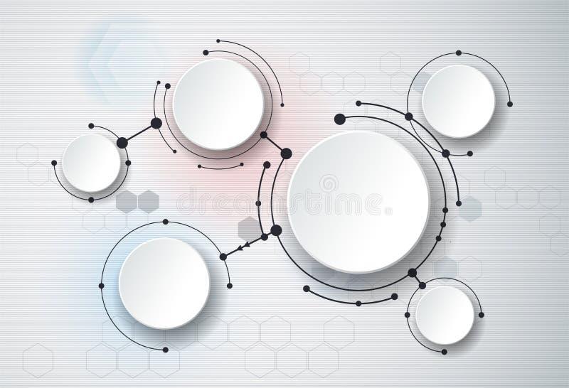 抽象分子和3d纸,联合圈子 您的设计的空白 向量例证