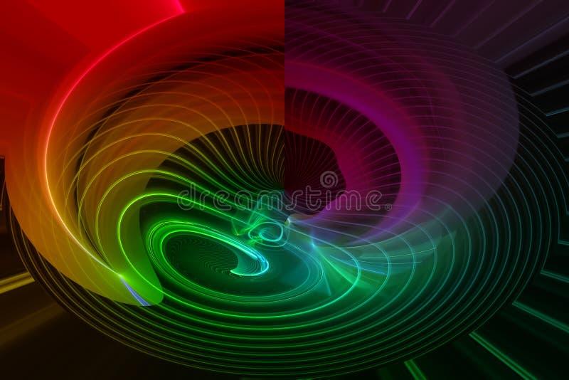 抽象分数维幻想未来派纹理元素意想不到的爆炸火焰波浪设计发光的漩涡作用混乱 库存例证