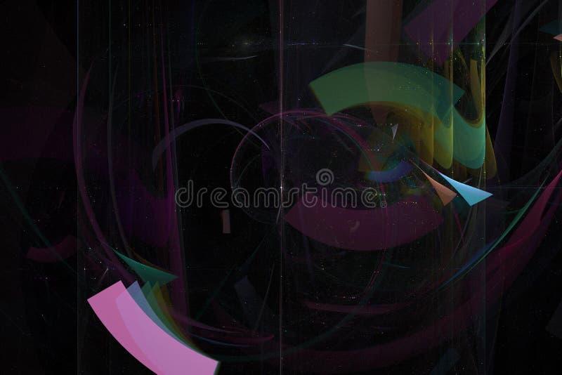抽象分数维想象力曲线纹理未来派混乱意想不到的科学火焰设计爆炸创造性发光 向量例证