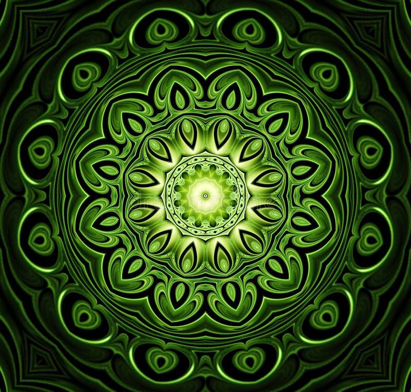 抽象分数维未来派绿色样式 向量例证