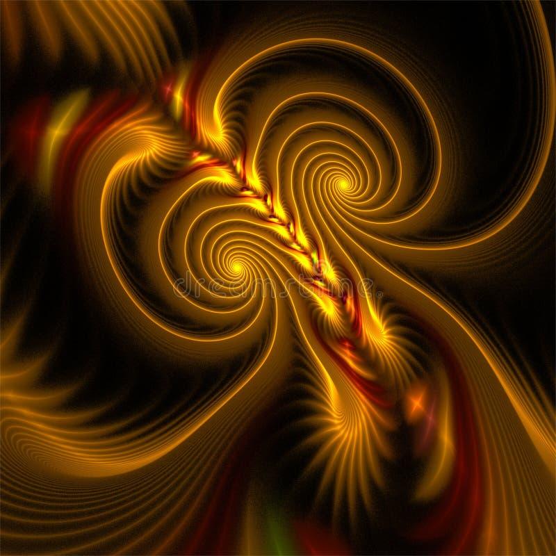 抽象分数维艺术棕色轻的两螺旋和神秘主义者形状 皇族释放例证