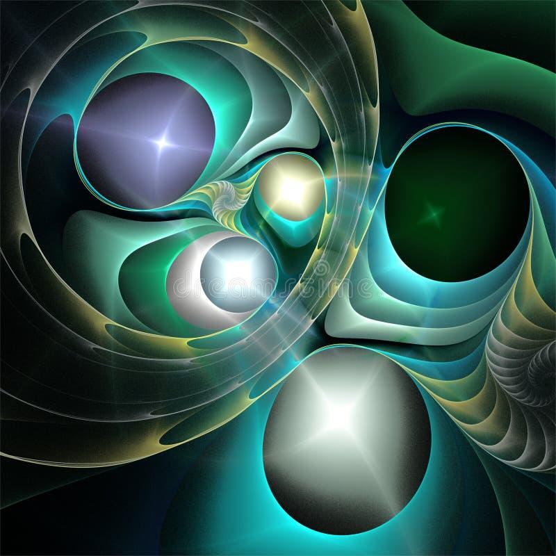 抽象分数维艺术神秘主义者精美玻璃蓝绿色银色泡影 皇族释放例证