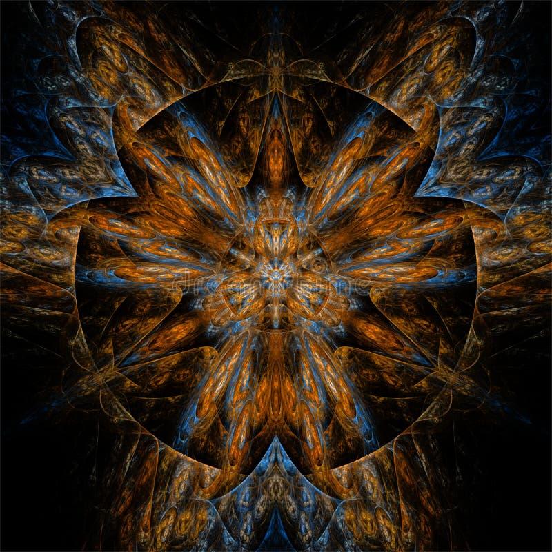 抽象分数维艺术颜色桔子和蓝色圈子坛场 皇族释放例证