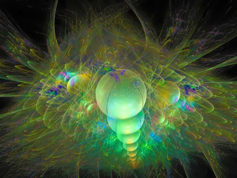 抽象分数维闪电电背景未来派墙纸发光的花梢设计横幅豪华 向量例证