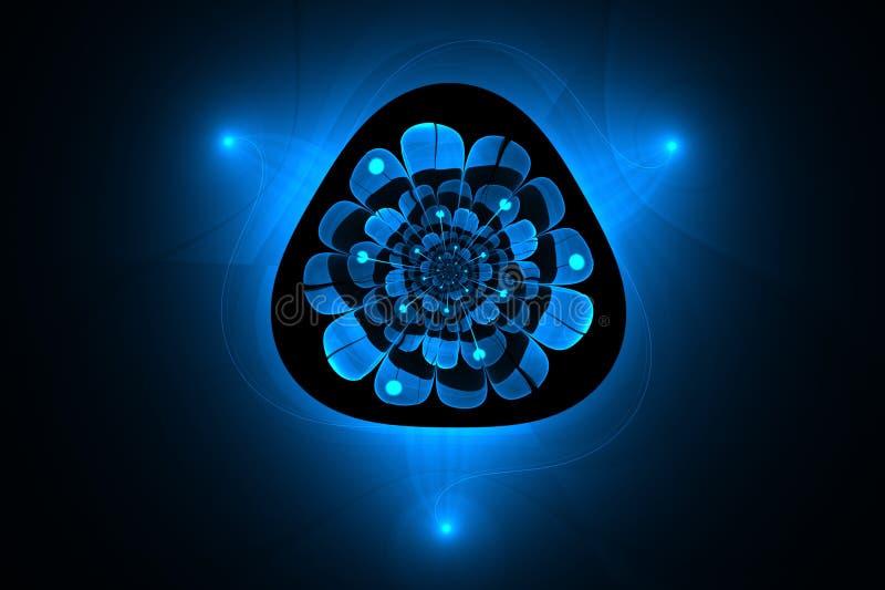 抽象分数维一朵神奇蓝色发光的花 向量例证