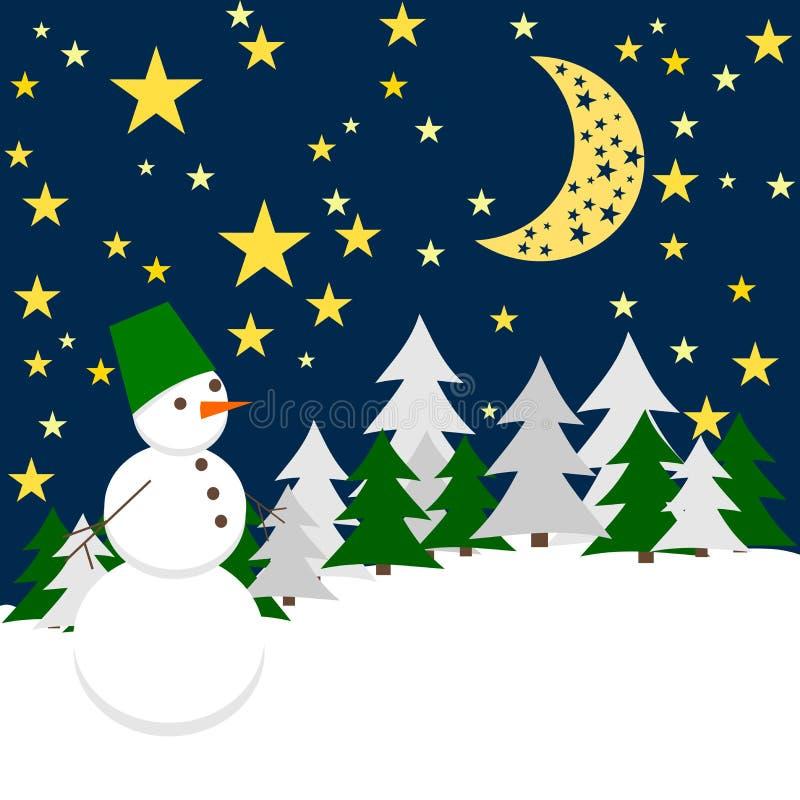 抽象分数维图象晚上冬天 与雪人的森林风景 皇族释放例证