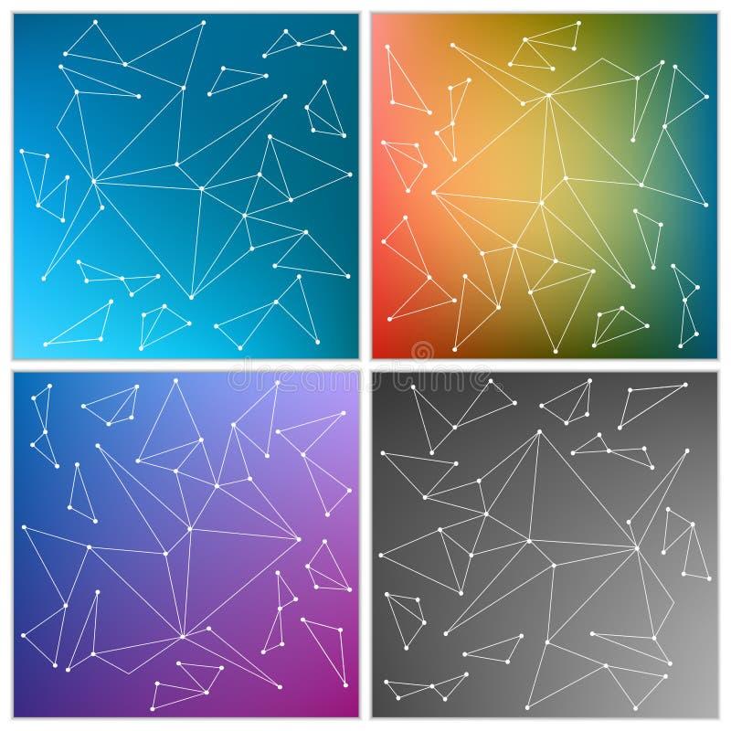 抽象创造性的概念传染媒介多彩多姿的被弄脏的背景集合 对网和流动应用,艺术例证 库存例证