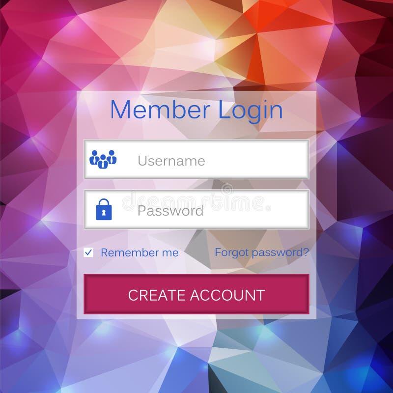 抽象创造性的概念传染媒介成员注册形式接口 对网页,站点,流动应用,艺术例证 库存例证